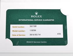 ROLEX 国際サービス 保証書